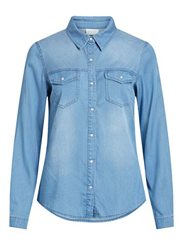 Vila Clothes Vibista Shirt-Noos Blusa, Azul (Medium Blue Denim Wash: Clean), 38 (Talla del Fabricante: Medium) para Mujer