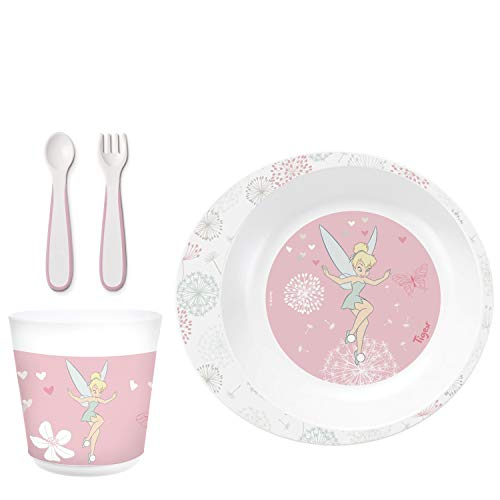 Tigex Disney Tinkerbell Dinner Set with Bowl, Cup, Fork and Spoon, Microwave-Safe