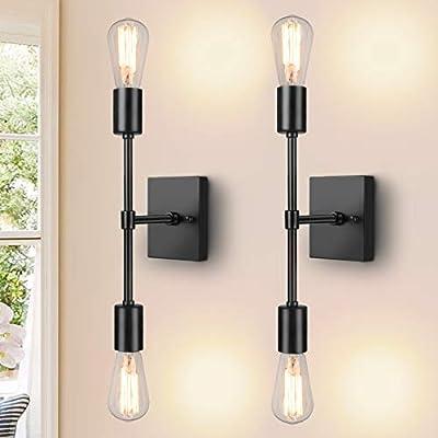 2-Light Vanity Light Fixtures Set of 2, Industrial Wall Sconce Lighting Black, Bathroom Vanity Wall Lights, Farmhouse Metal Wall Lamp E26 Base, Modern Indoor Wall Lighting for Mirror Bedroom Hallway