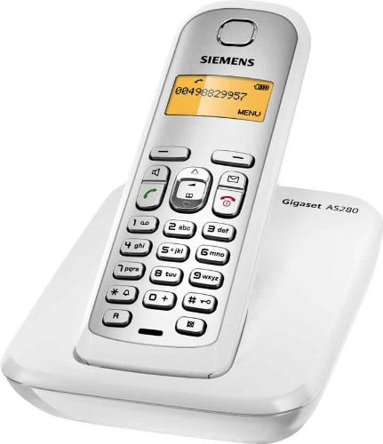 Siemens Gigaset AS280 DECT Schnurlostelefon mit beleuchtetem Display und Tastatur, weiß/ silber