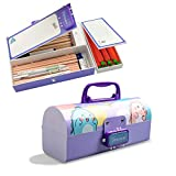 Funny live Japanese Cartoons Multifunction Pencil Box with Double Password Lock, Large Capacity Plastic Stationery Case Combination Lock Pencil Box Organizer for Kids, Girls & Teen (Dinosaur Purple)