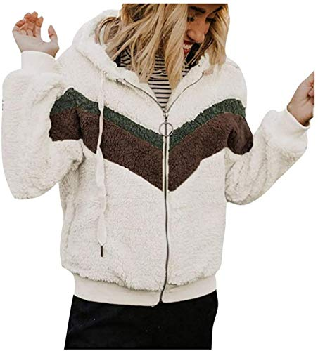 DamonRHalpern Casual Women Autumn Winter Sweatshirt Stitching Color Matching Hooded Jacket Plush Coat Plus Size