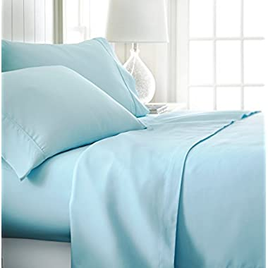 ienjoy Home Hotel Collection Luxury Soft Brushed Bed Sheet Set, Hypoallergenic, Deep Pocket, Queen, Aqua