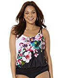 Swimsuits For All Women's Plus Size Loop Strap Blouson Tankini Top 22 Engineered Floral