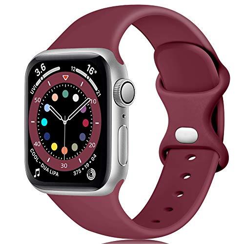 Epova Cinturino in Silicone Compatibile con Watch 40mm 38mm, Cinturini di Ricambio per iWatch SE Series 6 5 4 3 2 1, Vino Rosso, Piccolo