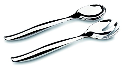MOZAIK Metallised Plastic Salad Serving Spoon and Fork Set (5 Serving Salad Forks, 5 Serving Salad Spoons)