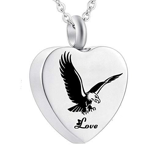 KXBY as Urn crematie as hanger roestvrij staal liefde hart engel vleugels hanger Urn ketting voor as Keepsake Memorial crematie sieraden