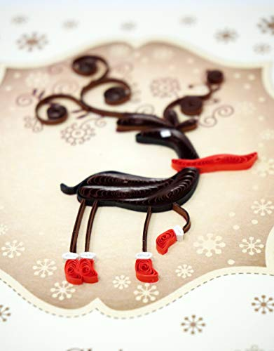 Quilling Card Holiday Reindeer - Unique Paper Handmade Greeting Cards For Christmas, Love, Birthday, Anniversary, Mother's Day, Thank You - Color Art Quilled Cards Gift For Friend, Lover, Family, Kids