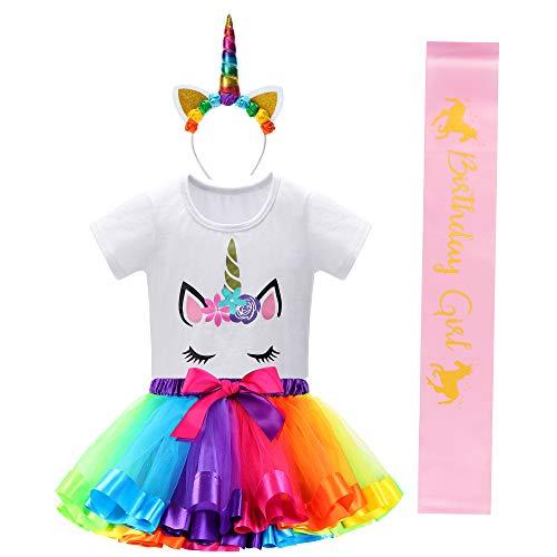 Unicorn Birthday Outfit with Rainbow Unicorn Tutu for Girls,Unicorn Headband,Girls Shirts and Birthday Girl SAS
