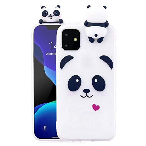 Case for iPhone 11 Case LAPOPNUT Soft Back Cover 3D Cartoon Panda Candy Colour Girly Bear Design Slim Flexible Protective Case Cover Bumper for Girls,White Panda