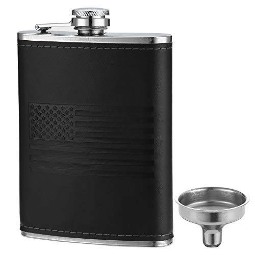 YFS Whiskey Flask With American Flag for Liquor and Funnel, 8 Oz Leak Proof Stainless Steel Pocket Hip Flask with Soft Touch Leather Cover, Black Flask for Men