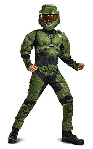 Halo Infinite Master Chief Costume, Kids Size Muscle Padded Video Game Inspired Character Jumpsuit, Child Size XL (14-16)