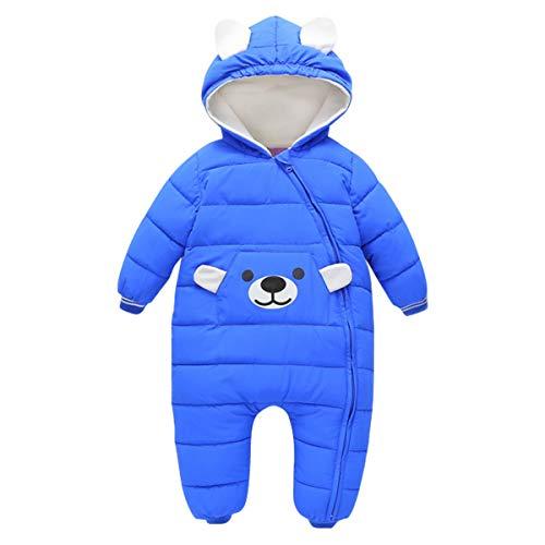 Bebone Baby Schneeanzug Jungen Strampler Mädchen Overall Winter Babykleidung (12-24 Monate, Blau)