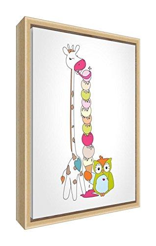 Feel Good Art eco-bedrukt & ingelijst kinderkamer canvas met natuurlijk massief houten frame 〗 Jess de giraffe eten ijs met Wally the Uil, meerkleurig, 34 x 24 x 3 cm (klein)