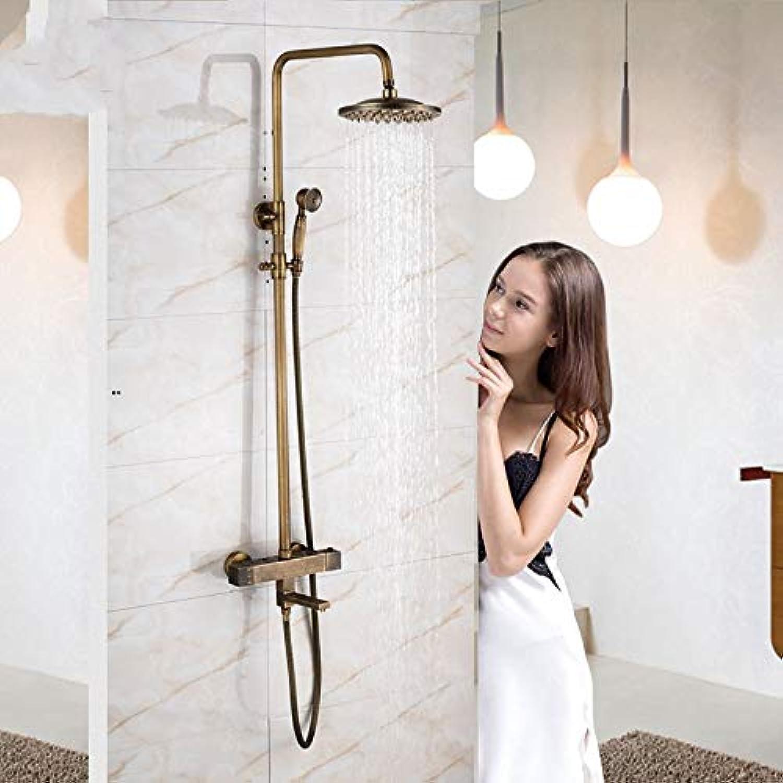 LWSFZAS Messing Antike Thermostatbrause Set Wasserhahn Dual Griff 8 Regen Bad Dusche Kit mit Handbrause Drehen Badewanne Auslauf Wandmontage