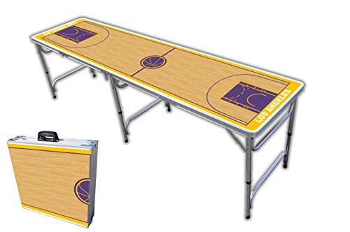 Big Save! 8-Foot Professional Beer Pong Table - Los Angeles Basketball Court Graphic