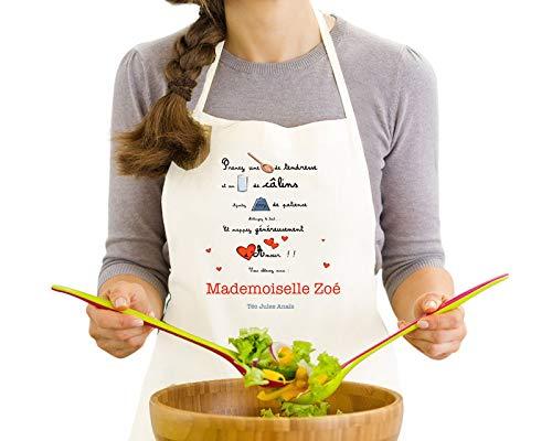CADEAUX.COM Tablier de cuisine personnalisable - Taille unique, réglable, ajustable, blanc - Poème - Idée cadeau Noël, saint-valentin