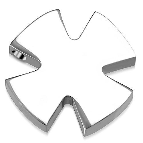BlackAmazement 316L Edelstahl Anhänger Medaillon Iron Cross Eisernes Kreuz Celtic Silber schwarz Biker Gothic Damen Herren (Farbe Silber ohne Kette)