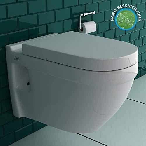 Vitra S50 mit VitrAclean Beschichtung Spülrandloses Hänge-Dusch-WC mit integrierter Bidet Funktion für Intimdusche | Vitra Quick-Release WC-Sitz mit SoftClose Absenkautomatik | inkl.Bidetschlauch
