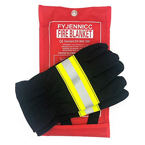 FYJENNICC Upgraded Fire Blanket Emergency Survival Fiberglass Shelter Safety Cover for The Kitchen Fireplace Grill Car Camping 39x39 in and a Pair of Gloves