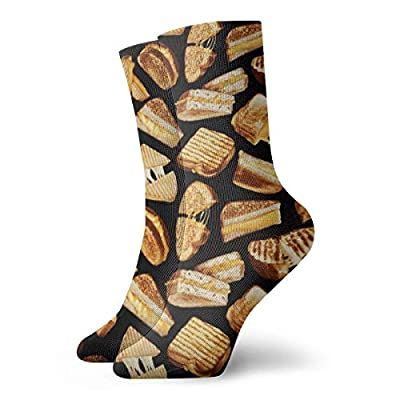 Grilled Cheese Sandwiches Cotton Cushioned Crew Socks, Athletic Socks, Non Slip Novelty Socks for Outdoor Yoga Football, Low-Cut Sock Compression Sock Tactical Socks