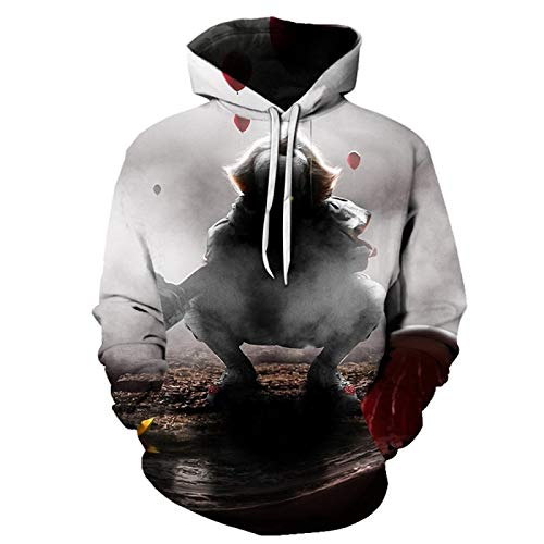qishi Lovers Wear 3D Digital Printing Sweatshirt Horror Clown Hooded Long Sleeve Baseball Uniform für Damen und Herren Gr. L, grau