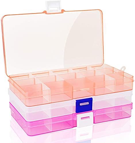 Caja Compartimentos Plastico , 3 Pcs Cajas de Almacenamiento de Plástico Transparente con 15 Rejillas,Cajas de Almacenamiento con Compartimentos ExtraíBles para Pequeños ArtíCulos/Tornillos/Pendientes