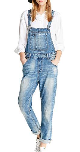 Damen Jeanshose Slim Fit Blau Latzhosen Elegant Casual Denim Fraizeithose Damen