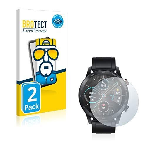 BROTECT Full-Cover Schutzfolie kompatibel mit Honor Watch Magic 2 (46 mm) (2 Stück) - Full-Screen Bildschirmschutz-Folie, 3D Curved, Kristall-Klar