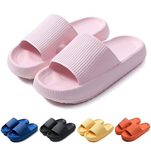 Fuupnn Pillow Slides Slippers, Non-Slip Quick Drying Outdoor Indoor Sandals Slides for Women Men,4cm Thick Sole Super Soft Massage Shower Bathroom House Beach Pool Girls Orange Platform Shoes (Pink, Eur38-Eur 39 250mm, 7)