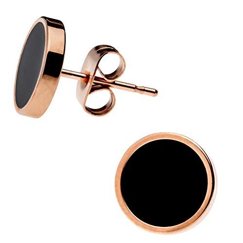 Elegante schlicht klassische runde Damen Ohrstecker Ohrringe Edelstahl Rosegold/Schwarz 10mm