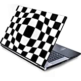 Skinit Decal Laptop Skin for Generic 12in Laptop (10.6in X 8.3in) - Officially Licensed Originally Designed Black and White Zoomed Checkerboard Design