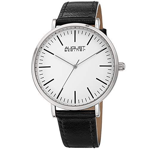 August Steiner Men's Classic Watch - Simple and Elegant Every Day Timepiece On Genuine Leather Strap...