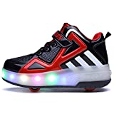 Zapatillas con Dos Ruedas para Niño y Niña LED Luces Skate Roller con Unisex Doble Ruedas Retráctil Skateboarding...