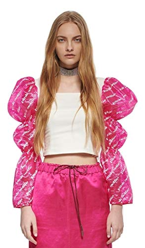 PINK SELFIE Women's Square Neck Virago Sleeve Crop Top White