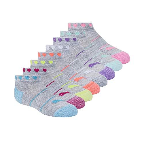 PUMA Paquete de 8 calcetines de corte bajo para niñas, Blanco/Verde, 5-6.5