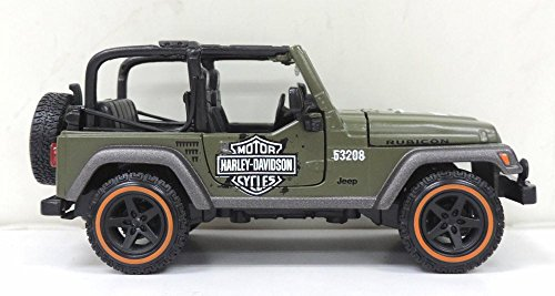 Maisto Jeep Wrangler Rubicon, Yellow HD Custom 32190GN - 1/27 Scale diecast Model car