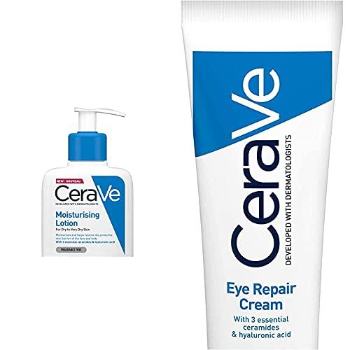 CeraVe Moisturising Lotion   236ml/8oz   Daily Face & Body Moisturiser for Dry to Very Dry Skin & Eye Repair Cream   14 ml/0.5 oz   Eye Cream for Dark Circles & Puffiness
