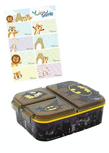 Batman Boîte à lunch Premium boîte à déjeuner Snack Box pour enfants filles avec 3 Compartiments + autocollants de noms pour enfants