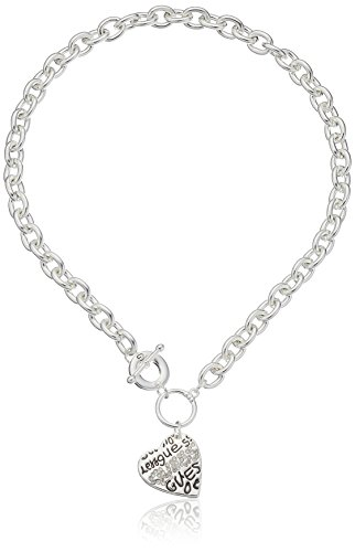 GUESS Basic Crystal Graffiti Heart Toggle Pendant Necklace One Size