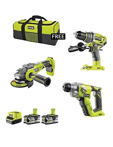 RYOBI Kit RK18325B (R18AG7 + R18SDS + R18PD7 + 2 x 5,0 Ah + RC18120 + Werkzeugtasche)