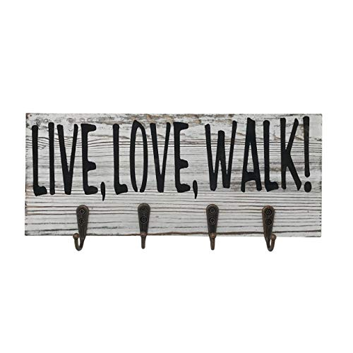 Preferred Crafts Rustic Wood Key and Dog Leash Holder Wall Mounted White Grey with 4 Hooks