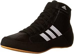 Adidas Wrestling HVC Youth Laced Wrestling Shoe (Toddler/Little Kid/Big Kid),Black/White/Gum,5 M US Big Kid