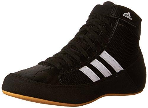 Adidas Wrestling HVC Youth Laced Wrestling Shoe (Toddler/Little Kid/Big Kid),Black/White/Gum,12 M US Little Kid