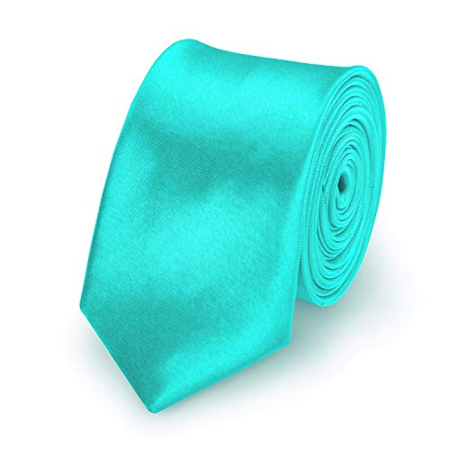 StickandShine Krawatte Türkis slim aus Polyester einfarbig uni schmale 5 cm