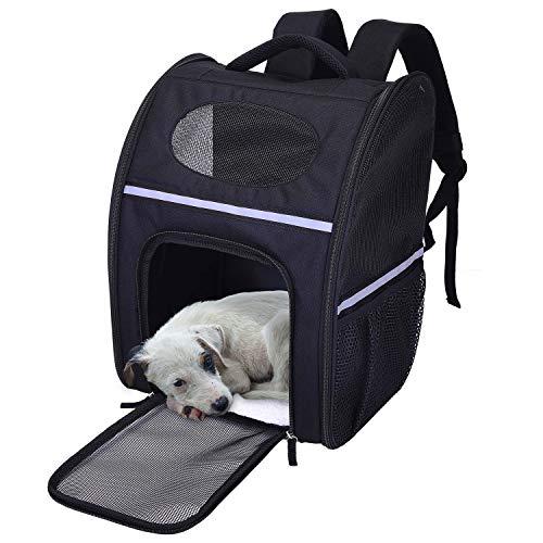 Lampop Hond Rugzak Carrier Honden Kleine Huisdier Hond Carrier Rugzakken Vouwen Draagbare Reizen Handtassen Outdoor, Zwart