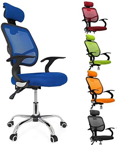 femor Bürostuhl, ergonomischer Schreibtischstuhl, Chefsessel mit Rollen, Bürodrehstuhl mit Verstellbarer Lordosenstütze, Kopfstütze, Armlehne und Rückenlehne, Höhenverstellung, bis 130kg, Blau