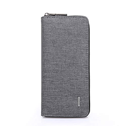 Mens Wallet Waterproof Canvas Zipper Arrounded Large Capacity Accordion Folded Cash Cards Phone Holder Long Wallet