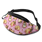 XCNGG Bolso de Cintura Corriente Bolso de Cintura de Ocio Bolso de Cintura Bolso de Cintura de Moda Casual Waist Bag Cartoon Pink Puppies Pugs For Men Women Running Travel Fashionable Fanny Pack