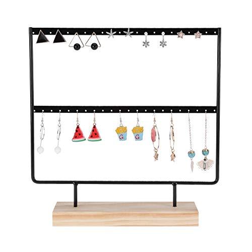 Sieraden houder roestvrij staal + hout oorbellen sieraden organisator display houder dubbellaags 44 gaten voor juwelen/winkel display (zwart)